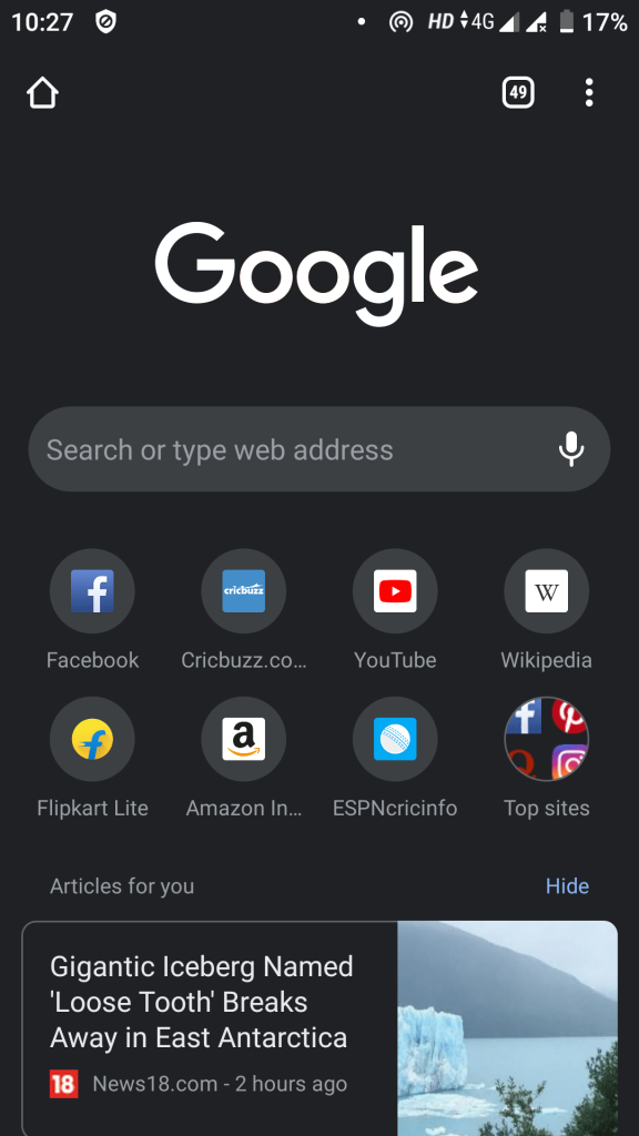 Google Chrome Dark Mode Android
